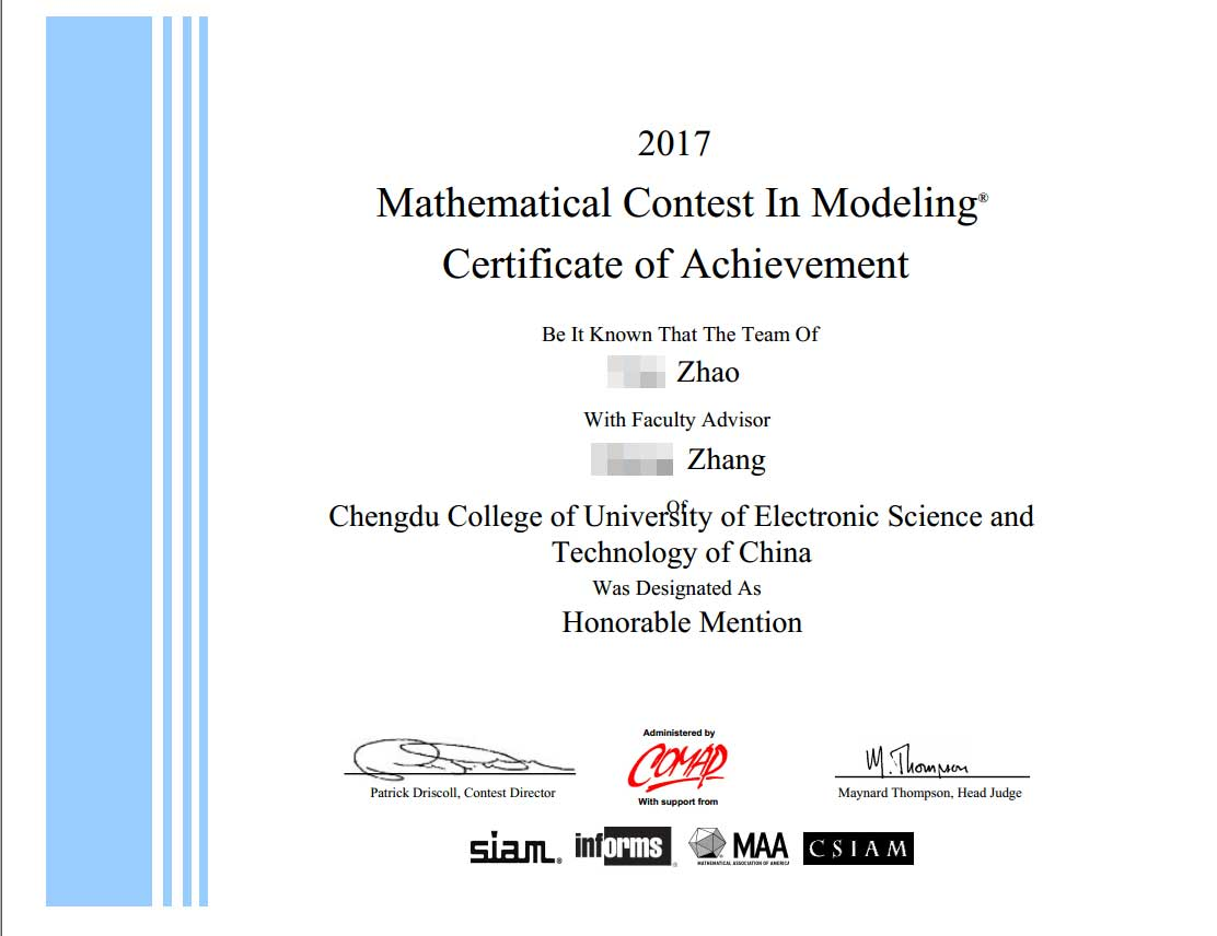 2017 Mathematical Contest In Modeling